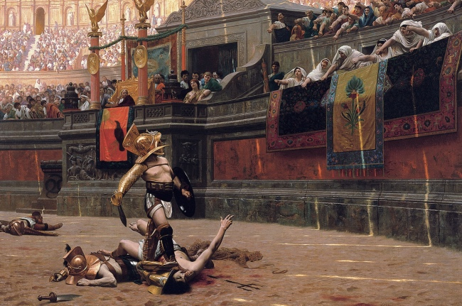 Painting of colosseum arena - colosseum facts